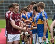 23 April 2017; Joe Canning of Galway exchanges handshakes with John O'Dwyer and John McGrath of Tipperary before the Allianz Hurling League Division 1 Final match between Galway and Tipperary at the Gaelic Grounds in Limerick. Photo by Diarmuid Greene/Sportsfile