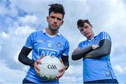 25 April 2017; SKINS ambassador Cian O'Sullivan along with Dublin hurler Eoghan O'Donnell today launched the renewal of the partnership between leading sports compression wear brand SKINS and Dublin GAA at DCU High Performance Gym and pitches, in Glasnevin, Dublin. Pictured are Cian O'Sullivan, left, and Eoghan O'Donnell. Photo by Sam Barnes/Sportsfile