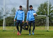 25 April 2017; SKINS ambassador Cian O'Sullivan along with Dublin Hurler Eoghan O'Donnell today launched the renewal of the partnership between leading sports compression wear brand SKINS and Dublin GAA at DCU High Performance Gym and pitches, in Glasnevin, Dublin 9. Pictured are Eoghan O'Donnell, left, and Cian O'Sullivan.  Photo by Sam Barnes/Sportsfile