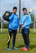 25 April 2017; SKINS ambassador Cian O'Sullivan along with Dublin Hurler Eoghan O'Donnell today launched the renewal of the partnership between leading sports compression wear brand SKINS and Dublin GAA at DCU High Performance Gym and pitches, in Glasnevin, Dublin 9. Pictured are Cian O'Sullivan, left, and Eoghan O'Donnell.  Photo by Sam Barnes/Sportsfile