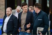 25 April 2017; Dublin footballer Diarmuid Connolly, centre, arrives at Punchestown Racecourse in Naas, Co Kildare. Photo by Cody Glenn/Sportsfile