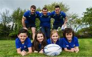 25 April 2017; The Bank of Ireland Leinster Rugby Camps were launched by Leinster Rugby stars Jonathon Sexton, Sean O'Brien and Jack McGrath at a pop up training session in St. Mary's National School, Ranelagh. The camps will run in 27 different venues across the province throughout July and August. Visit www.leinsterrugby.ie/camps for more information. Sean O'Brien of Leinster participates in a game of dodgeball with the kids. Leinster players Sean O'Brien, left, Jack McGrath and Jonathon Sexton form a scrum behind kids Jake Walsh-Keane, left, Sophia Hickey, Catherine O'Connor and Alex O'Connor. St. Mary's National School, Milltown Park, Sandford Road, Ranelagh, Dublin. Photo by David Fitzgerald/Sportsfile