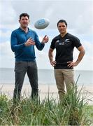 25 April 2017; 2005 touring Lion Shane Horgan and former All-Black Doug Howlett were at Sandymount in Dublin today to launch AIG's Ultimate All Blacks Experience competition; an all-expenses paid trip for two to New Zealand to watch the All Blacks take on the British and Irish Lions in June. For more information keep an eye on the AIG Ireland social media channels or log on to www.aig.ie/the-all-blacks/aig-lions-tour-competition. Photo by Stephen McCarthy/Sportsfile