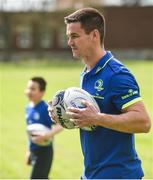 25 April 2017; The Bank of Ireland Leinster Rugby Camps were launched by Leinster Rugby stars Jonathon Sexton, Sean O'Brien and Jack McGrath at a pop up training session in St. Mary's National School, Ranelagh. The camps will run in 27 different venues across the province throughout July and August. Visit www.leinsterrugby.ie/camps for more information. Jonathon Sexton of Leinster participates in a game of dodgeball with the kids. St. Mary's National School, Milltown Park, Sandford Road, Ranelagh, Dublin. Photo by David Fitzgerald/Sportsfile