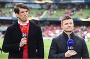 22 April 2017; Former Ireland players Donncha O'Callaghan, left, and Brian O'Driscoll in their roles as TV analysts prior to the European Rugby Champions Cup Semi-Final match between Munster and Saracens at the Aviva Stadium in Dublin. Photo by Brendan Moran/Sportsfile