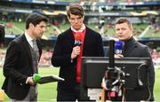 22 April 2017; Former Ireland players Donncha O'Callaghan, centre, and Brian O'Driscoll in their roles as TV analysts with Craig Doyle of BT Sport, prior to the European Rugby Champions Cup Semi-Final match between Munster and Saracens at the Aviva Stadium in Dublin. Photo by Brendan Moran/Sportsfile