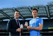 26 April 2017; The GAA and GPA are delighted to announce an additional product to their existing partnership with Glanbia Consumer Products, in the promotion of a Chocolate flavoured Avonmore Protein Milk. This new Avonmore Protein Milk Chocolate is a great tasting milk produced by one of Ireland's best known and most trusted brands. It contains 27g of protein per serving providing a convenient and easily accessible source of protein throughout the day for everyone who enjoys sport. As a natural protein source, Avonmore Protein Milk helps rebuild and grow muscle mass, in addition to providing a good source for calcium, vitamin B12 and added vitamin D. Pictured at the launch are Stuart Scott, left, Senior Brand Manager, Glanbia, and Dublin footballer Paul Flynn. Photo by Brendan Moran/Sportsfile