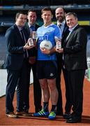 26 April 2017; The GAA and GPA are delighted to announce an additional product to their existing partnership with Glanbia Consumer Products, in the promotion of a Chocolate flavoured Avonmore Protein Milk. This new Avonmore Protein Milk Chocolate is a great tasting milk produced by one of Ireland's best known and most trusted brands. It contains 27g of protein per serving providing a convenient and easily accessible source of protein throughout the day for everyone who enjoys sport. As a natural protein source, Avonmore Protein Milk helps rebuild and grow muscle mass, in addition to providing a good source for calcium, vitamin B12 and added vitamin D. Pictured at the launch are, from left, Stuart Scott, Senior Brand Manager, Glanbia, Barry Cahill, Business Development Manager, GAA/GPA, Dublin footballer Paul Flynn, Dermot Earley, Chief Executive, GPA and Peter McKenna, Commercial Manager, GAA. Photo by Brendan Moran/Sportsfile