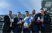 26 April 2017; The GAA and GPA are delighted to announce an additional product to their existing partnership with Glanbia Consumer Products, in the promotion of a Chocolate flavoured Avonmore Protein Milk. This new Avonmore Protein Milk Chocolate is a great tasting milk produced by one of Ireland's best known and most trusted brands. It contains 27g of protein per serving providing a convenient and easily accessible source of protein throughout the day for everyone who enjoys sport. As a natural protein source, Avonmore Protein Milk helps rebuild and grow muscle mass, in addition to providing a good source for calcium, vitamin B12 and added vitamin D. Pictured at the launch are, from left, Peter McKenna, Commercial Manager, GAA, Stuart Scott, Senior Brand Manager, Glanbia, Dublin footballer Paul Flynn, Dermot Earley, Chief Executive, GPA and Barry Cahill, Business Development Manager, GAA/GPA. Photo by Brendan Moran/Sportsfile