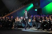 21 October 2011; Dublin footballer Michael Darragh Macauley walks up to receive his award at the GAA GPA All-Star Awards 2011 sponsored by Opel. National Convention Centre, Dublin. Picture credit: Brendan Moran / SPORTSFILE