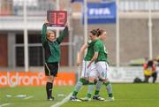 22 October 2011; Fourth official Paula Brady signals a substitution. UEFA Women's Euro 2013 Qualifier, Republic of Ireland v Israel, Tallaght Stadium, Tallaght, Dublin. Picture credit: Stephen McCarthy / SPORTSFILE