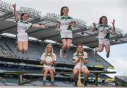 27 April 2017; In attendance at the launch of the John West Féile competitions in Croke Park are, Johnwest Ambassadors, Monaghan ladies footballer Eimear McAnespie and Carlow Camogie player Kate Nolan, seated, with local GAA players, from left, Hannah Crowley, Lauren Dawson and Aimee Clyne-Farrelly of Lucan Sarsfields GAA Club, Co Dublin. This is the second year that the Féile na nGael and Féile Peile na nÓg have been sponsored by John West, one of the world's leading suppliers of fish. They were joined by ambassadors; Dublin footballer Philly McMahon and Wexford hurler Lee Chin as well as Monaghan Ladies footballer Eimear McAnespie and Carlow camogie player Kate Nolan. The highly-anticipated competition gives up-and-coming GAA superstars the chance to participate and play in their respective Féile tournament, at a level which suits their age, skills and strengths. Croke Park, Dublin. Photo by Sam Barnes/Sportsfile