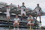 27 April 2017; In attendance at the launch of the John West Féile competitions in Croke Park are, John West Ambassadors, Dublin footballer Philly McMahon and Wexford hurler Lee Chin, seated, with local GAA players, from left, Neil O'Leary, Cian Canavan and Hugh Cuffe of Lucan Sarsfields GAA Club, Co. Dublin. This is the second year that the Féile na nGael and Féile Peile na nÓg have been sponsored by John West, one of the world's leading suppliers of fish. They were joined by ambassadors; Dublin footballer Philly McMahon and Wexford hurler Lee Chin as well as Monaghan Ladies footballer Eimear McAnespie and Carlow camogie player Kate Nolan. The highly-anticipated competition gives up-and-coming GAA superstars the chance to participate and play in their respective Féile tournament, at a level which suits their age, skills and strengths. Croke Park, Dublin. Photo by Sam Barnes/Sportsfile