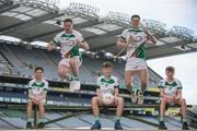 27 April 2017; In attendance at the launch of the John West Féile competitions in Croke Park are, Johnwest Ambassadors; Dublin footballer Philly McMahon and Wexford hurler Lee Chin, with local GAA players, seated from left, Neil O'Leary, Cian Canavan and Hugh Cuffe of Lucan Sarsfields GAA Club, Co Dublin. This is the second year that the Féile na nGael and Féile Peile na nÓg have been sponsored by John West, one of the world's leading suppliers of fish. They were joined by ambassadors; Dublin footballer Philly McMahon and Wexford hurler Lee Chin as well as Monaghan Ladies footballer Eimear McAnespie and Carlow camogie player Kate Nolan. The highly-anticipated competition gives up-and-coming GAA superstars the chance to participate and play in their respective Féile tournament, at a level which suits their age, skills and strengths. Croke Park, Dublin. Photo by Sam Barnes/Sportsfile