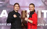 27 April 2017; Katie Taylor, left, and Nina Meinke during a press conference at Wembley Arena in London, England. Photo by Lawrence Lustig/Sportsfile