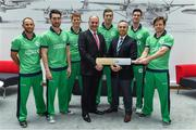 27 April 2017; Turkish Airlines has been unveiled as the new headline sponsor of the senior men's international team at a ceremony in Dublin today. Initially for one year, the exciting partnership ensures Turkish Airlines involvement with the Irish squad throughout the upcoming busy season with the option to extend for a further two years to 2020. In attendance at the announcement are, from left, John Anderson, Andrew Balbirnie, Kevin O'Brien, Warren Deutrom, CEO Cricket Ireland, Peter Chase, Hasan Mutlu, General Manager, Turkish Airlines in Dublin, George Dockrell and Ed Joyce. Photo by Brendan Moran/Sportsfile