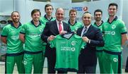 27 April 2017; Turkish Airlines has been unveiled as the new headline sponsor of the senior men's international team at a ceremony in Dublin today. Initially for one year, the exciting partnership ensures Turkish Airlines involvement with the Irish squad throughout the upcoming busy season with the option to extend for a further two years to 2020. In attendance at the announcement are, from left, John Anderson, Ed Joyce, Peter Chase, Warren Deutrom, CEO, Cricket Ireland, Kevin O'Brien, Hasan Mutlu, General Manager, Turkish Airlines in Dublin, Andrew Balbirnie and George Dockrell. Photo by Brendan Moran/Sportsfile
