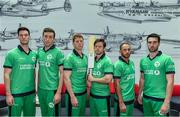 27 April 2017; Turkish Airlines has been unveiled as the new headline sponsor of the senior men's international team at a ceremony in Dublin today. Initially for one year, the exciting partnership ensures Turkish Airlines involvement with the Irish squad throughout the upcoming busy season with the option to extend for a further two years to 2020. In attendance at the announcement are Ireland players, from left, George Dockrell, Peter Chase, Kevin O'Brien, Ed Joyce, John Anderson, and Andrew Balbirnie. Photo by Brendan Moran/Sportsfile