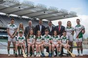 27 April 2017; In attendance at the launch of the John West Féile competitions in Croke Park are, back row from left, Wexford hurler Lee Chin, Monaghan Ladies footballer Eimear McAnespie, Uachtarán Chumann Lúthchleas Gael Aogán Ó Fearghail, Peter Rooney, Country Manager, John West, Martin Skelly, Chairman, National Féile Committee, Oliver Galligan, National Féile Committee, Carlow Camogie player Kate Nolan and Dublin footballer Philly McMahon, with local GAA players from Lucan Sarsfields GAA club, Co Dublin. This is the second year that the Féile na nGael and Féile Peile na nÓg have been sponsored by John West, one of the world's leading suppliers of fish. They were joined by ambassadors; Dublin footballer Philly McMahon and Wexford hurler Lee Chin as well as Monaghan Ladies footballer Eimear McAnespie and Carlow camogie player Kate Nolan. The highly-anticipated competition gives up-and-coming GAA superstars the chance to participate and play in their respective Féile tournament, at a level which suits their age, skills and strengths. Croke Park, Dublin. Photo by Sam Barnes/Sportsfile