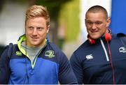 28 April 2017; James Tracy, left, and Andrew Porter of Leinster arrive prior to the Guinness PRO12 Round 21 match between Leinster and Glasgow Warriors at the RDS Arena in Dublin. Photo by Stephen McCarthy/Sportsfile