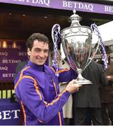 28 April 2017; Patrick Mullins with the cup after winning the BETDAQ Punchestown Champion Handicap at Punchestown Racecourse in Naas, Co. Kildare. Photo by Matt Browne/Sportsfile