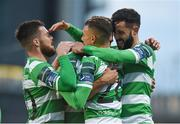 28 April 2017; Roberto Lopes of Shamrock Rovers is congratulated by his team-mates, from left, Brandon Miele, Graham Burke and David Webster after scoring the first goal against Limerick FC during the SSE Airtricity League Premier Division match between Shamrock Rovers and Limerick FC at Tallaght Stadium in Dublin. Photo by Matt Browne/Sportsfile