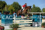 14 September 2011; Clarissa Crotta, Switzerland, and West Side while competing in the FEI European Speed Competition at the FEI European Jumping Championships, Club de Campo Villa, Madrid, Spain. Picture credit: Ray McManus / SPORTSFILE
