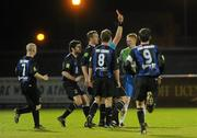29 October 2011; Keith Quinn, Monaghan United, is shown the red card by referee Keith Callinan. Airtricity League First Division, Athlone Town v Monaghan United, Lisseywollen, Athlone, Co. Westmeath. Picture credit: Pat Murphy / SPORTSFILE