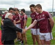 23 April 2017; The President of Ireland, Michael D Higgins, shakes hands with the Galway's, Joe Canning, before the Allianz Hurling League Division 1 Final match between Galway and Tipperary at Gaelic Grounds, in Limerick. Photo by Ray McManus/Sportsfile