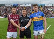23 April 2017; Referee Colm Lyons with the Galway captain, David Burke, and Tipperary captain Pádraic Maher before the Allianz Hurling League Division 1 Final match between Galway and Tipperary at Gaelic Grounds, in Limerick. Photo by Ray McManus/Sportsfile