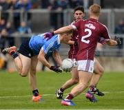 29 April 2017; Con O'Callaghan of Dublin in action against Liam Kelly, 2, and Ruairí Greene of Galway during the EirGrid All-Ireland U21 Football Final match between Dublin and Galway at O'Connor Park in Tullamore, Dublin. Photo by Ray McManus/Sportsfile