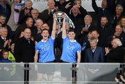 29 April 2017; The President of Ireland Michael D. Higgins applauds as the Dublin captains Con O'Callaghan, left, Cillian O'Shea lift the cup after the EirGrid All-Ireland U21 Football Final match between Dublin and Galway at O'Connor Park in Tullamore, Dublin. Photo by Ray McManus/Sportsfile