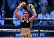 29 April 2017, Katie Taylor celebrates victory in her WBA Inter-Continental Lightweight Championship bout with Nina Meinke at Wembley Stadium, in London, England. Photo by Brendan Moran/Sportsfile