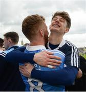 29 April 2017; Dublin goalkeeper Evan Comerford celebrates with team-mate Andrew Foley following the EirGrid All-Ireland U21 Football Final match between Dublin and Galway at O'Connor Park in Tullamore, Dublin. Photo by Cody Glenn/Sportsfile
