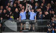 29 April 2017; Con O'Callaghan, left, and Cillian O'Shea of Dublin lift the cup following the EirGrid All-Ireland U21 Football Final match between Dublin and Galway at O'Connor Park in Tullamore, Dublin. Photo by Cody Glenn/Sportsfile