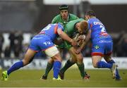 29 April 2017; Darragh Leader of Connacht in action against Jonathan Davies, left, and Ken Owens of Scarlets during the Guinness PRO12 Round 21 match between Connacht and Scarlets at The Sportsground in Galway. Photo by Diarmuid Greene/Sportsfile