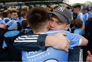 29 April 2017; Dublin manager Dessie Farrell hugs Glenn O'Reilly of Dublin following the EirGrid All-Ireland U21 Football Final match between Dublin and Galway at O'Connor Park in Tullamore, Dublin. Photo by Cody Glenn/Sportsfile