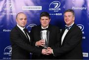 29 April 2017; Brendan Markey, Athy RFC, is presented with the 2017 Bank of Ireland Junior Club of the Year Award by James Munnelly, Head of Marketing, Bank of Ireland, and Leinster Rugby President Frank Doherty, right, at the Leinster Rugby Awards Ball. The Awards, MC'd by Darragh Maloney, were a celebration of the 2016/17 Leinster Rugby season to date and over the course of the evening Leinster Rugby acknowledged the contributions of retirees Mike Ross, Eoin Reddan and Luke Fitzgerald as well as presenting Leinster Rugby caps to departees Bill Dardis, Hayden Triggs, Mike McCarthy, Zane Kirchner and Dominic Ryan. Former Leinster Rugby team doctor Professor Arthur Tanner was posthumously inducted into the Guinness Hall of Fame. Some of the Award winners on the night included; Gonzaga College (Deep River Rock School of the Year), David Hicks, De La Salle Palmerston (Beauchamps Contribution to Leinster Rugby Award), Clontarf FC (CityJet Senior Club of the Year), Coláiste Chill Mhantáin (Irish Independent Development School of the Year Award), Athy RFC (Bank of Ireland Junior Club of the Year). Professional award winners on the night included Laya Healthcare Young Player of the Year - Joey Carbery, Life Style Sports Supporters Player of the Year - Isa Nacewa, Canterbury Tackle of the Year – Isa Nacewa, Irish Independnet Try of the Year – Adam Byrne and Bank of Ireland Players' Player of the Year – Luke McGrath. Clayton Hotel, Burlington Road, Dublin 4. Photo by Stephen McCarthy/Sportsfile
