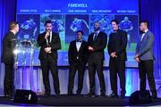 29 April 2017; Leinster's, from left, Dominic Ryan, Billy Dardis, Hayden Triggs, Mike McCarthy and Zane Kirchner with MC Darragh Maloney, far left, at the Leinster Rugby Awards Ball. The Awards, MC'd by Darragh Maloney, were a celebration of the 2016/17 Leinster Rugby season to date and over the course of the evening Leinster Rugby acknowledged the contributions of retirees Mike Ross, Eóin Reddan and Luke Fitzgerald as well as presenting Leinster Rugby caps to departees Bill Dardis, Hayden Triggs, Mike McCarthy, Zane Kirchner and Dominic Ryan. Former Leinster Rugby team doctor Professor Arthur Tanner was posthumously inducted into the Guinness Hall of Fame. Some of the Award winners on the night included; Gonzaga College (Deep River Rock School of the Year), David Hicks, De La Salle Palmerston (Beauchamps Contribution to Leinster Rugby Award), Clontarf FC (CityJet Senior Club of the Year), Coláiste Chill Mhantáin (Irish Independent Development School of the Year Award), Athy RFC (Bank of Ireland Junior Club of the Year). Professional award winners on the night included Laya Healthcare Young Player of the Year - Joey Carbery, Life Style Sports Supporters Player of the Year - Isa Nacewa, Canterbury Tackle of the Year – Isa Nacewa, Irish Independnet Try of the Year – Adam Byrne and Bank of Ireland Players' Player of the Year – Luke McGrath. Clayton Hotel, Burlington Road, Dublin 4. Photo by Stephen McCarthy/Sportsfile