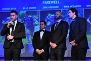 29 April 2017; Leinster's, from left, Dominic Ryan, Billy Dardis, Hayden Triggs, and Mike McCarthy at the Leinster Rugby Awards Ball. The Awards, MC'd by Darragh Maloney, were a celebration of the 2016/17 Leinster Rugby season to date and over the course of the evening Leinster Rugby acknowledged the contributions of retirees Mike Ross, Eóin Reddan and Luke Fitzgerald as well as presenting Leinster Rugby caps to departees Bill Dardis, Hayden Triggs, Mike McCarthy, Zane Kirchner and Dominic Ryan. Former Leinster Rugby team doctor Professor Arthur Tanner was posthumously inducted into the Guinness Hall of Fame. Some of the Award winners on the night included; Gonzaga College (Deep River Rock School of the Year), David Hicks, De La Salle Palmerston (Beauchamps Contribution to Leinster Rugby Award), Clontarf FC (CityJet Senior Club of the Year), Coláiste Chill Mhantáin (Irish Independent Development School of the Year Award), Athy RFC (Bank of Ireland Junior Club of the Year). Professional award winners on the night included Laya Healthcare Young Player of the Year - Joey Carbery, Life Style Sports Supporters Player of the Year - Isa Nacewa, Canterbury Tackle of the Year – Isa Nacewa, Irish Independnet Try of the Year – Adam Byrne and Bank of Ireland Players' Player of the Year – Luke McGrath. Clayton Hotel, Burlington Road, Dublin 4. Photo by Stephen McCarthy/Sportsfile