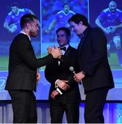 29 April 2017; Leinster's, from left, Dominic Ryan, Billy Dardis, and Mike McCarthy at the Leinster Rugby Awards Ball. The Awards, MC'd by Darragh Maloney, were a celebration of the 2016/17 Leinster Rugby season to date and over the course of the evening Leinster Rugby acknowledged the contributions of retirees Mike Ross, Eóin Reddan and Luke Fitzgerald as well as presenting Leinster Rugby caps to departees Bill Dardis, Hayden Triggs, Mike McCarthy, Zane Kirchner and Dominic Ryan. Former Leinster Rugby team doctor Professor Arthur Tanner was posthumously inducted into the Guinness Hall of Fame. Some of the Award winners on the night included; Gonzaga College (Deep River Rock School of the Year), David Hicks, De La Salle Palmerston (Beauchamps Contribution to Leinster Rugby Award), Clontarf FC (CityJet Senior Club of the Year), Coláiste Chill Mhantáin (Irish Independent Development School of the Year Award), Athy RFC (Bank of Ireland Junior Club of the Year). Professional award winners on the night included Laya Healthcare Young Player of the Year - Joey Carbery, Life Style Sports Supporters Player of the Year - Isa Nacewa, Canterbury Tackle of the Year – Isa Nacewa, Irish Independnet Try of the Year – Adam Byrne and Bank of Ireland Players' Player of the Year – Luke McGrath. Clayton Hotel, Burlington Road, Dublin 4. Photo by Stephen McCarthy/Sportsfile