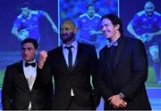 29 April 2017; Leinster's, from left, Billy Dardis, Hayden Triggs, and Mike McCarthy at the Leinster Rugby Awards Ball. The Awards, MC'd by Darragh Maloney, were a celebration of the 2016/17 Leinster Rugby season to date and over the course of the evening Leinster Rugby acknowledged the contributions of retirees Mike Ross, Eóin Reddan and Luke Fitzgerald as well as presenting Leinster Rugby caps to departees Bill Dardis, Hayden Triggs, Mike McCarthy, Zane Kirchner and Dominic Ryan. Former Leinster Rugby team doctor Professor Arthur Tanner was posthumously inducted into the Guinness Hall of Fame. Some of the Award winners on the night included; Gonzaga College (Deep River Rock School of the Year), David Hicks, De La Salle Palmerston (Beauchamps Contribution to Leinster Rugby Award), Clontarf FC (CityJet Senior Club of the Year), Coláiste Chill Mhantáin (Irish Independent Development School of the Year Award), Athy RFC (Bank of Ireland Junior Club of the Year). Professional award winners on the night included Laya Healthcare Young Player of the Year - Joey Carbery, Life Style Sports Supporters Player of the Year - Isa Nacewa, Canterbury Tackle of the Year – Isa Nacewa, Irish Independnet Try of the Year – Adam Byrne and Bank of Ireland Players' Player of the Year – Luke McGrath. Clayton Hotel, Burlington Road, Dublin 4. Photo by Stephen McCarthy/Sportsfile