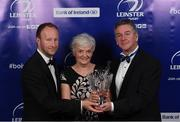 29 April 2017; Ann Tanner is presented with the 2017 Guinness Hall of Fame Award, posthumously awarded to her late husband Prof. Arthur Tanner, by Rory Sheridan, Head of Sponsorship, Diageo Western Europe, left, and Leinster Rugby President Frank Doherty at the Leinster Rugby Awards Ball. The Awards, MC'd by Darragh Maloney, were a celebration of the 2016/17 Leinster Rugby season to date and over the course of the evening Leinster Rugby acknowledged the contributions of retirees Mike Ross, Eóin Reddan and Luke Fitzgerald as well as presenting Leinster Rugby caps to departees Bill Dardis, Hayden Triggs, Mike McCarthy, Zane Kirchner and Dominic Ryan. Former Leinster Rugby team doctor Professor Arthur Tanner was posthumously inducted into the Guinness Hall of Fame. Some of the Award winners on the night included; Gonzaga College (Deep River Rock School of the Year), David Hicks, De La Salle Palmerston (Beauchamps Contribution to Leinster Rugby Award), Clontarf FC (CityJet Senior Club of the Year), Coláiste Chill Mhantáin (Irish Independent Development School of the Year Award), Athy RFC (Bank of Ireland Junior Club of the Year). Professional award winners on the night included Laya Healthcare Young Player of the Year - Joey Carbery, Life Style Sports Supporters Player of the Year - Isa Nacewa, Canterbury Tackle of the Year – Isa Nacewa, Irish Independnet Try of the Year – Adam Byrne and Bank of Ireland Players' Player of the Year – Luke McGrath. Clayton Hotel, Burlington Road, Dublin 4. Photo by Stephen McCarthy/Sportsfile