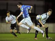 1 November 2011; Sean Brennan, Monaghan United, in action against Laurence Gaughan, Galway United. Airtricity League Promotion Relegation Play-off, 1st Leg, Monaghan United v Galway United, Gortakeegan, Monaghan. Picture credit: David Maher / SPORTSFILE