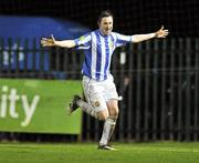 1 November 2011; Sean Brennan, Monaghan United, celebrates after scoring his side's second goal. Airtricity League Promotion Relegation Play-off, 1st Leg, Monaghan United v Galway United, Gortakeegan, Monaghan. Picture credit: David Maher / SPORTSFILE