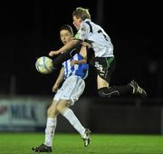 1 November 2011; Mike Gilmour, Galway United, in action against Shane Grimes, Monaghan United. Airtricity League Promotion Relegation Play-off, 1st Leg, Monaghan United v Galway United, Gortakeegan, Monaghan. Picture credit: David Maher / SPORTSFILE