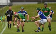 30 April 2017; Cormac Reilly of Meath in action against Paddy Whelan, centre, and Willie Dunphy of Laois during the Leinster GAA Hurling Senior Championship Qualifier Group Round 2 match between Meath and Laois at Pairc Tailteann in Meath. Photo by Ray McManus/Sportsfile