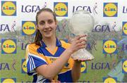 30 April 2017; Michelle Farrell of Longford with her Player of the Match Award after the Lidl Ladies Football National League Div 4 Final match between Longford and Wicklow at the Clane Grounds in Kildare.  Photo by Piaras Ó Mídheach/Sportsfile