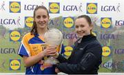 30 April 2017; Michelle Farrell of Longford is presented with her Player of the Match Award by Sorcha Keane, Lidl, after the Lidl Ladies Football National League Div 4 Final match between Longford and Wicklow at the Clane Grounds in Kildare.  Photo by Piaras Ó Mídheach/Sportsfile