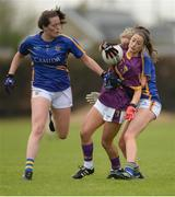 30 April 2017; Ellen O'Brien of Wexford in action against Emma Buckley and Elaine Kelly, right, of Tipperary during the Lidl Ladies Football National League Div 3 Final match between Tipperary and Wexford at the Clane Grounds in Kildare.  Photo by Piaras Ó Mídheach/Sportsfile